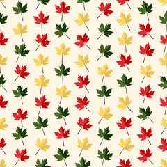 Seamless colorful background made of different maple leaves