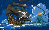 Fototapety Pirate's Ship Sailing to the Skull Island