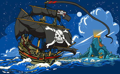 Pirate's Ship Sailing to the Skull Island