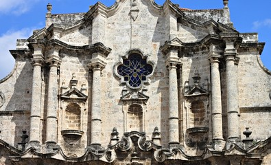 details of stone cathedral in Havana Cuba