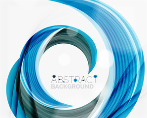 Vector blue swirl line abstract background