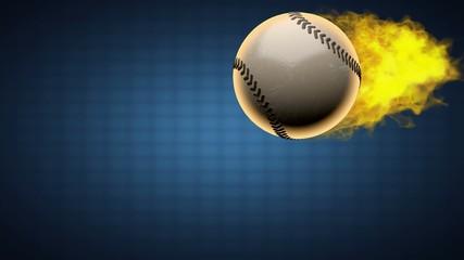 slow motion burning baseball ball. Alpha matted