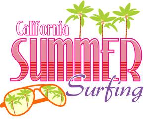California Summer Surfing typography, t-shirt graphics