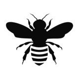 Fototapety Black Bee Silhouette isolated on white background - illustration