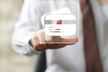 Business button credit card web icon.