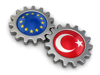 Turkish and European union flags on a gears