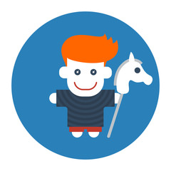 Flat style red-haired boy with toy horse