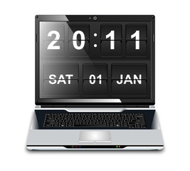 Modern Laptop with Flip Clock Screensaver