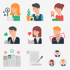 Set of flat style vector human resources icons. Management, recr
