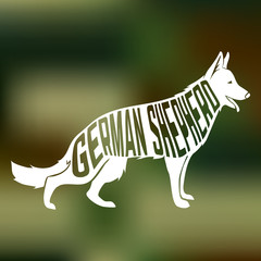 Creative design of german shepherd breed dog silhouette on