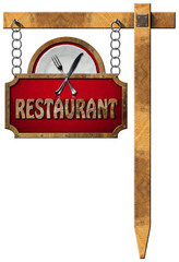 Restaurant Sign with Metal Chain and Pole