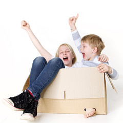 Kids play with moving box