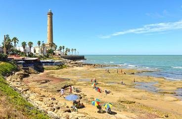 Faro y playa de Chipiona, Costa de la Luz, Cádiz, España