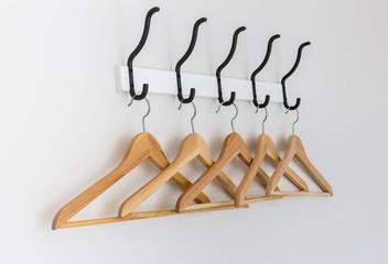 Wood coat hanger on wall
