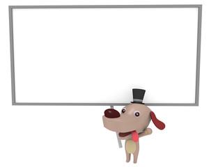 犬のキャラクターとボード