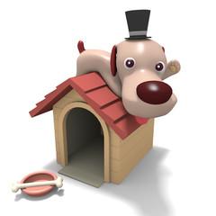 犬のキャラクターと犬小屋