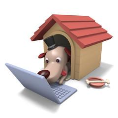 犬のキャラクターと犬小屋とノートパソコン