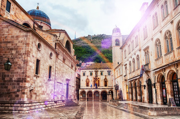 View of streets of old fortress in Dubrovnik, Croatia