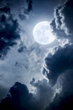 Fototapety Dramatic Nighttime Clouds and Sky With Beautiful Full Blue Moon