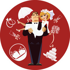 elements of wedding accessories, bride and groom