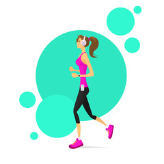 Sport Woman Run with Fitness Tracker Girl Runner Jogging
