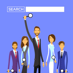 Business People Group Hold Magnifying Search Flat
