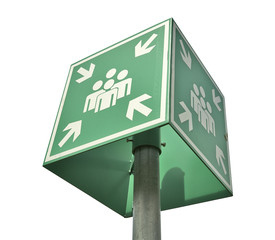 Meeting or assembly point sign - clipping path