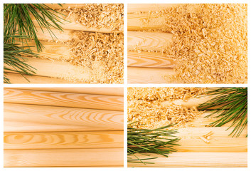 Wooden sawdust, logs and pine branches, set