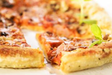 Ham and mushrooms pizza