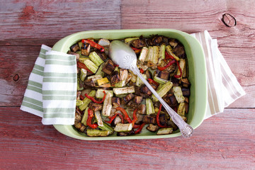 Delicious assorted roast vegetables in a dish