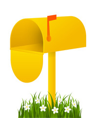Yellow mail box with green grass
