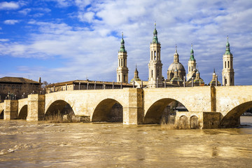 elegant Saragossa, view of Basilica–Cathedral of Our Lady of t