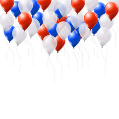 Red, white and blue balloons on white background