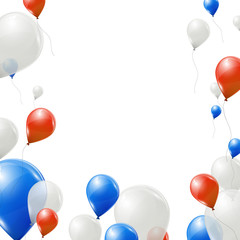 Red, blue and white balloons on white background