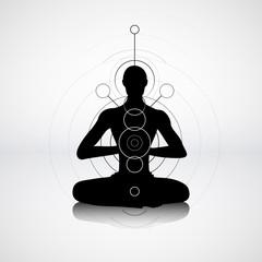 Male silhouette in yoga pose