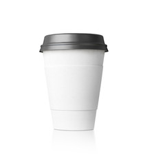 White paper cup isolated with black top. 3d rendering