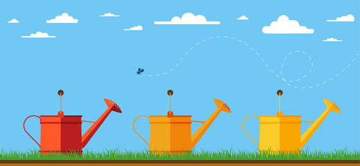 illustration of three watering cans for garden.