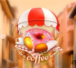 Pink donut and cup of coffee background