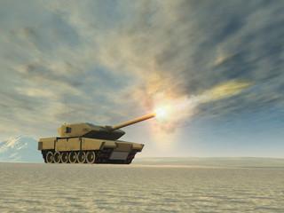 Tanque de guerra disparando