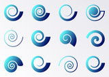 Blue spiral icons