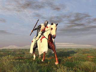 Caballero templario con lanza sobre un caballo