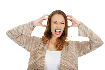 Angry woman screaming.