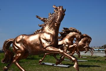 Bronze sculpture featuring a racing horse, in Astana, Kazakhstan