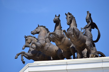 Quadriga on the top of the New Opera in Astana, Kazakhstan