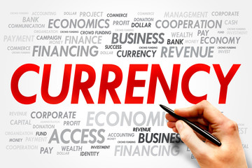 CURRENCY word cloud, business concept