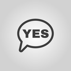 The YES speech bubble icon. Yes symbol. Flat