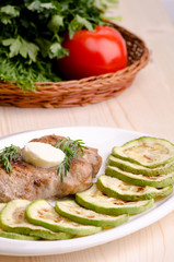 Pork steak with vegetables