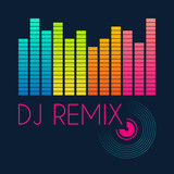 dj remix typography, t-shirt graphics. vector illustration poster