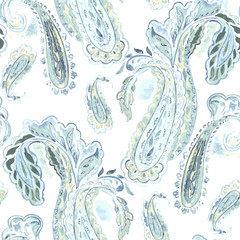 Watercolor seamless pattern with paisley