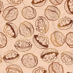 Walnut  seamless vector pattern
